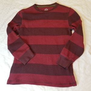 Wonder nation maroon red stripe S waffle top shirt
